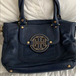 Navy blue and gold Tory bag